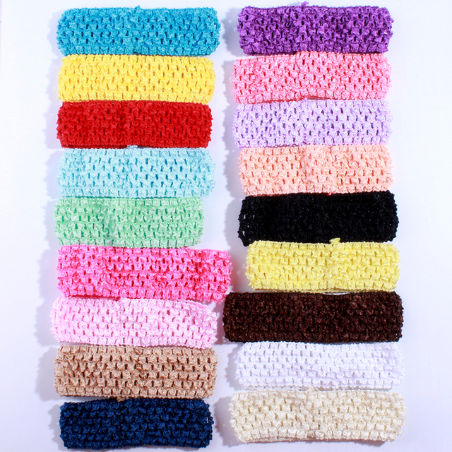 10PCS 4CM Fashion Crochet Elastic Band For Hair Accessories Hollow out Knit Headband For Hairband Head Wear