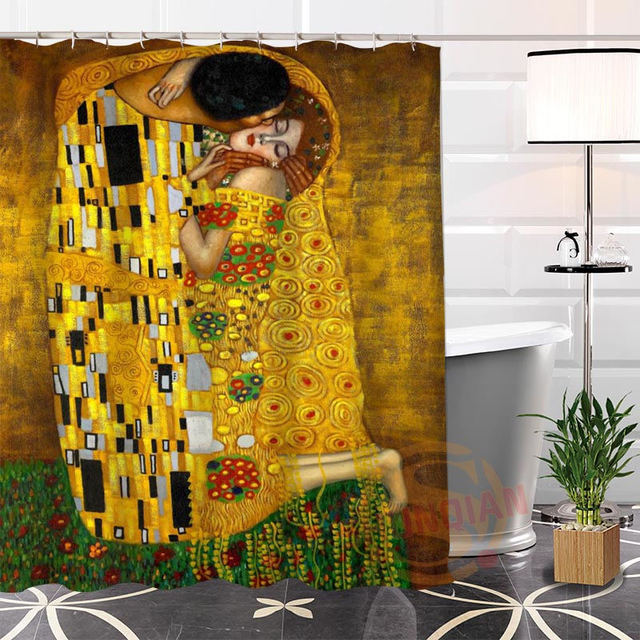 Eco Friendly Custom Unique Klimt Famous Paintings Fabric Modern Shower  Curtain Bathroom Waterproof For Yourself