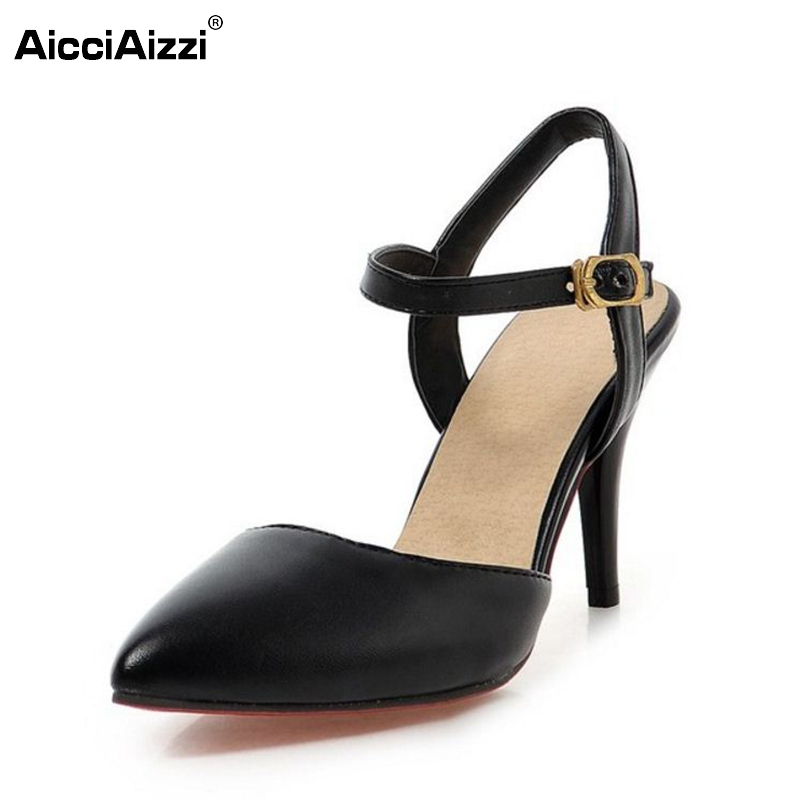 Women Shoes women Sandals ankle strap pointed toe high heel sandals sexy fashion ladies heeled shoes large size 31-43 P23535 women flat sandals fashion ladies pointed toe flats shoes womens high quality ankle strap shoes leisure shoes size 34 43 pa00290