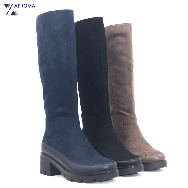 d512194135d11 Winter Autumn 2018 Knee High Boots Women Thick Heel Black Navy Blue Brown  Platform Shoes Square Heel Suede High Heel Fleece Bota