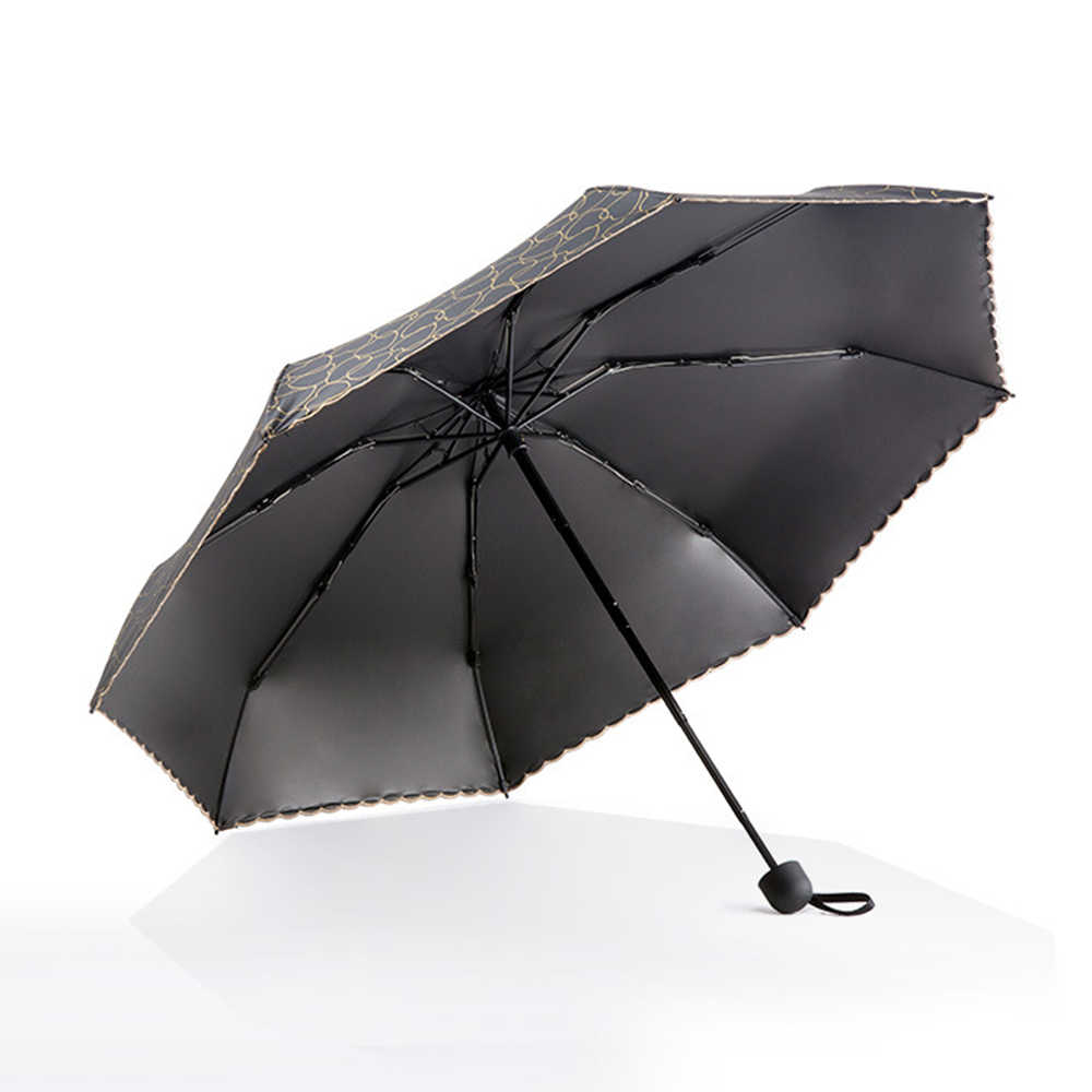 TTK Sun Mini Payung Hujan Wanita Jantung Bentuk Anti UV Lima Lipat Anak-anak Payung Tabir Surya Parasol 8 K Tahan Angin Renda payung