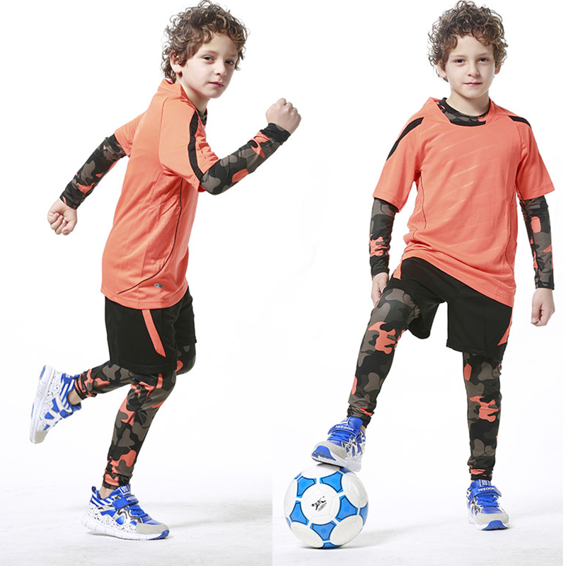 Sports Kids Camouflage Shirt Pants Compression Running Traiing Pants Children Sports Trousers Bodybuilding Leggings Fitness