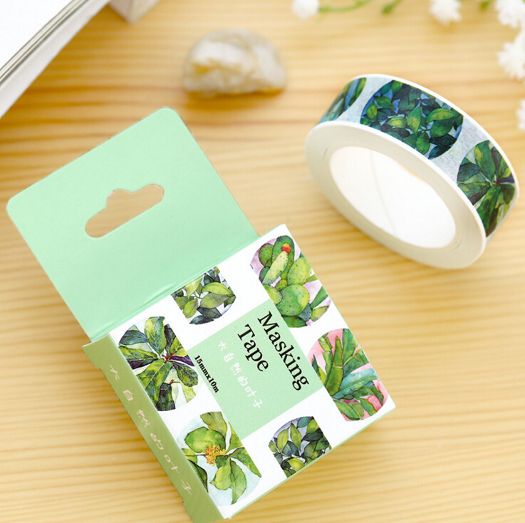 JF303 1.5CM Wide Natural Green Succulent Plant Adhesive Tape DIY Scrapbooking Sticker Label Masking Tape