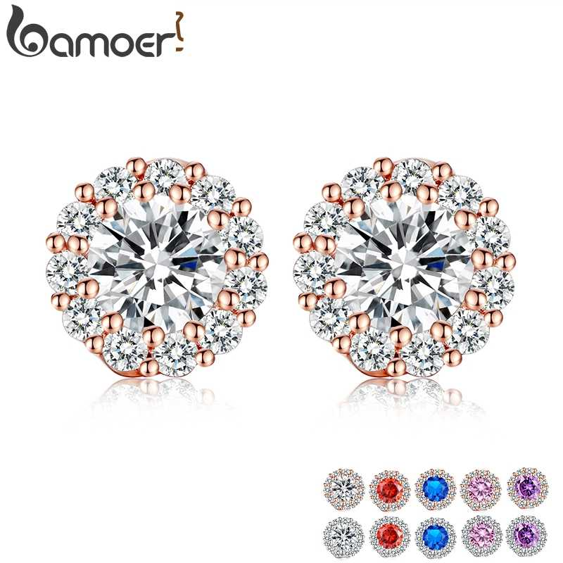 BAMOER Fashion  Gold Color 5 Color Round Crystals Stud Earrings with AAA Zircon Women Jewelry Birthday Gift JIE054