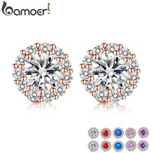 BAMOER Fashion Gold Color 5 Color Round Crystals Stud Earrings with AAA Zircon Women Jewelry Birthday Gift JIE054(China)