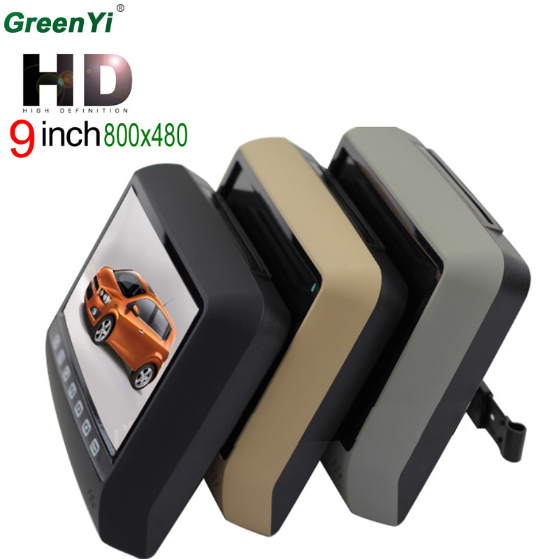 9 Inch Car Headrest Monitor With 800*480 Screen Support USB SD DVD Player Car MP5 MP4 Games Remote Control For Honda Renault .