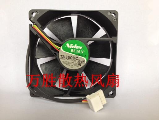 Nidec  TA350DC M34138-34 CQ1 12V 0.50A 9225 4 Wire with PW functional chassis cooling fan nmb 3610kl 05w b49 9225 24v 3 wire cooling fan blower