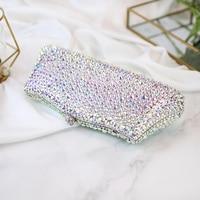 evening bags crystal womem's clutches rhinestone luxury dinner Symphony full diamond packet length fashion female 2017 new bag