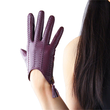 Genuine Leather Pure Imported Goatskin Tassel Zipper Short Style Touch Screen Womans Gloves Driving Thin Velvet Lined TB08