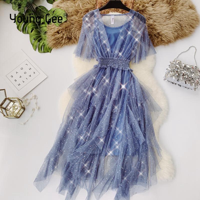 Женское Сетчатое платье Young Gee, ассиметричное облегающее платье с расширяющимся рукавом, на весну и лето