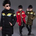 3-11Y niños chicos abajo de algodón acolchada chaqueta larga sección de la chaqueta de invierno con capucha caliente del muchacho ropa de abrigo niños abajo y abrigos esquimales