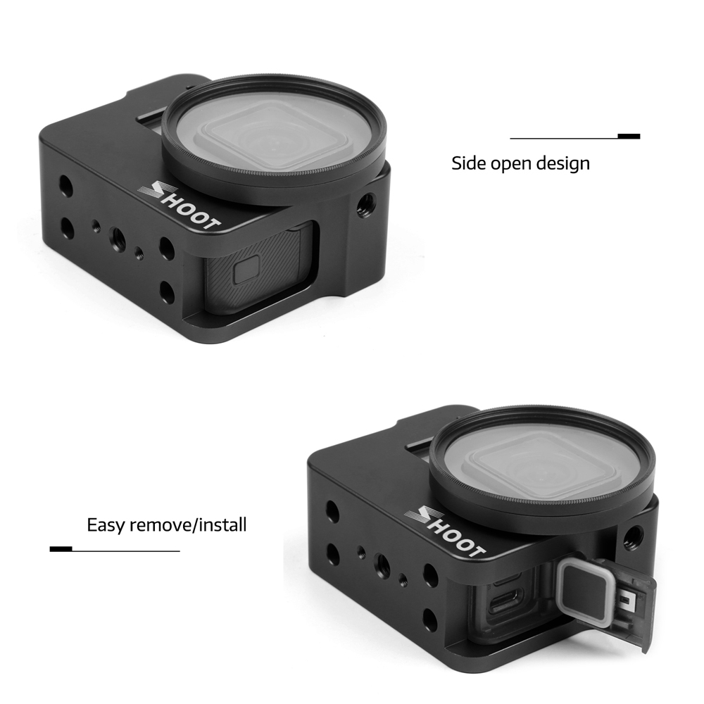 SHOOT CNC Aluminum Alloy Protective Case Cage for GoPro Hero 7 6 5 Black with 52mm UV Lens Cage for Go Pro Hero 7 6 Accessories
