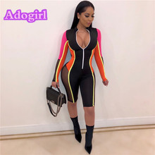 Adogirl Mesh Sexy Slim Vneck Long Sleeved Jumpsuit Women Night Club Party Fashion Rompers Female New Brief Skinny Jumpysuit