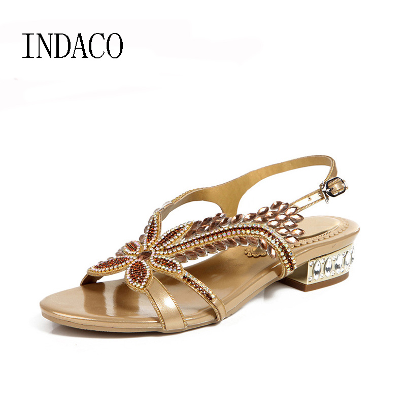 Women Gold Rhinestone Sandals Low-heeled Plus Size 43 44 Summer Shoes Party Sandals Ankle Strap Black Purple INDACO