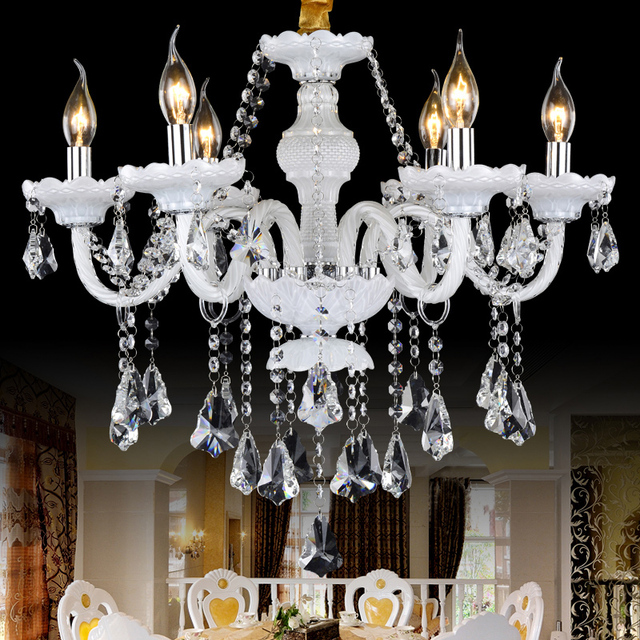 French iron chandelier french romantic crystal chandeliers lamp 8 french iron chandelier french romantic crystal chandeliers lamp 8 lights handmade glass art shade maria theresa aloadofball Gallery