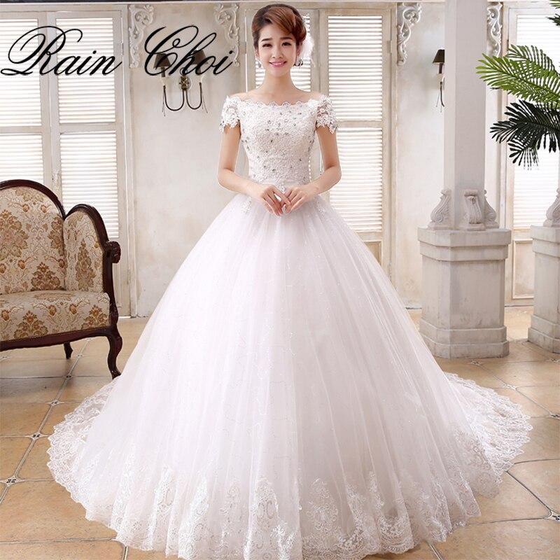 Ball gown elegant tulle bridal gowns short sleeves vestido for Short flowing wedding dresses