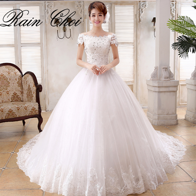 Lace Wedding Gown: Ball Gown Elegant Tulle Bridal Gowns Short Sleeves Vestido