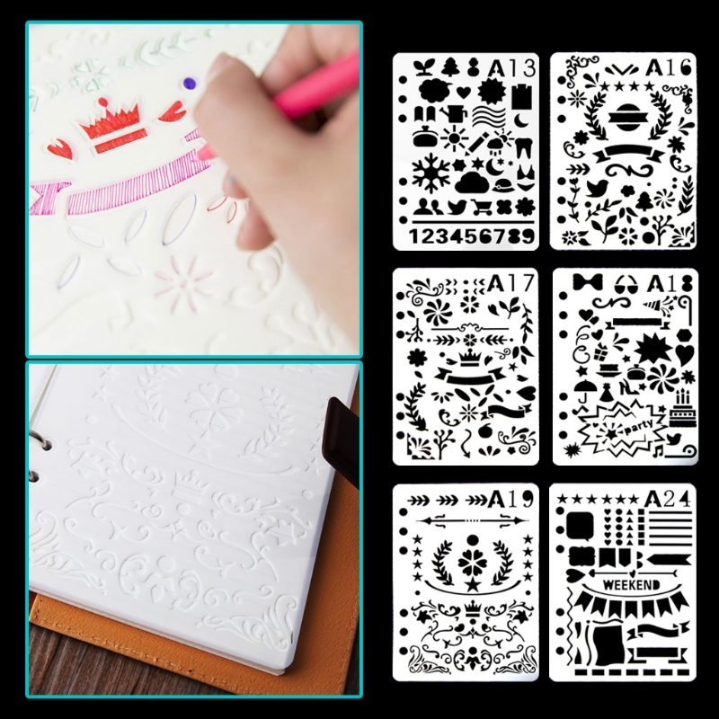 8pc Child Painting Stencil Leaves Openwork Diy Scrapbooking Album Decorative Bullet Journal Template Drawing Stencils Decor Home