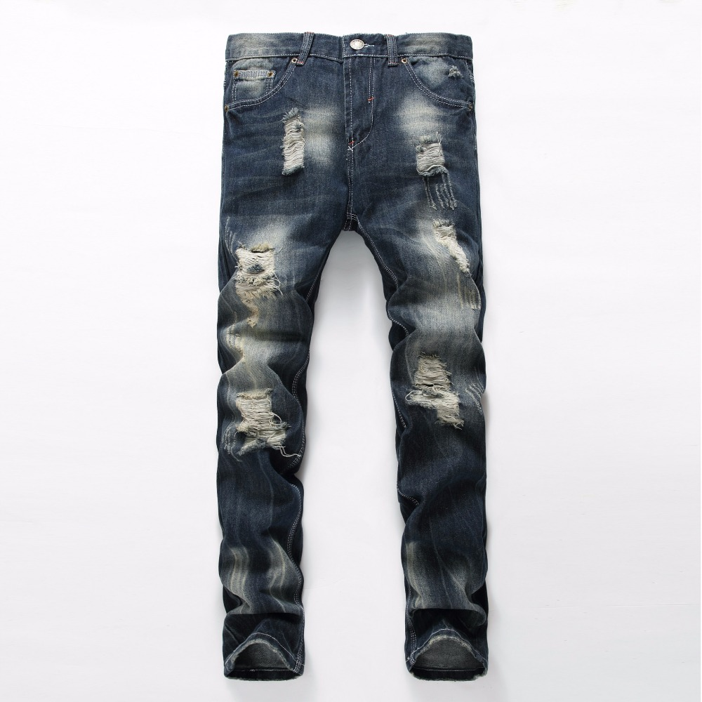ФОТО NEW Harajuku Jeans Mens Ripped Jeans Fashion Brand Rap mens Moto Classic Biker Jeans Hole Denim Straight Slim Fit Casual Pants