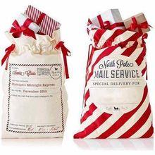 50 шт./лот, большой мешок Санта Клауса на шнурке, рождественские мешки 38 стилей, Рождественский мешок из парусины, Подарочная сумка для детей, конфетный тростник, оптовая продажа