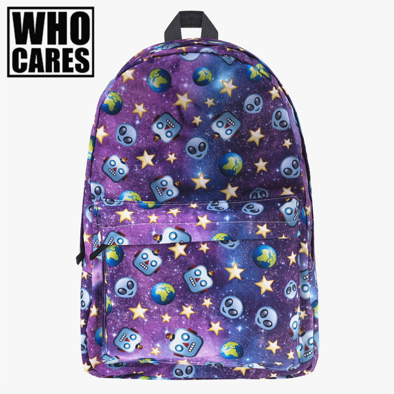 alien robot galaxy Print backpack women mochila Who Cares 2017 bookbag school bags for teenage girls sac a dos canvas backpack vintage cute owl backpack women cartoon school bags for teenage girls canvas women backpack brands design travel bag mochila sac