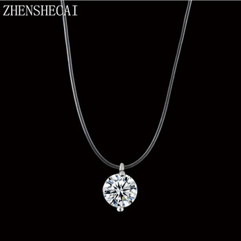 Silver Dazzling Clear And Invisible Zircon Necklace