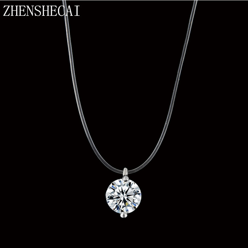 Fashion Color Silver Dazzling Clear And Invisible Zircon Necklace Simple Fishing Line Pendant Necklace Jewelry x89