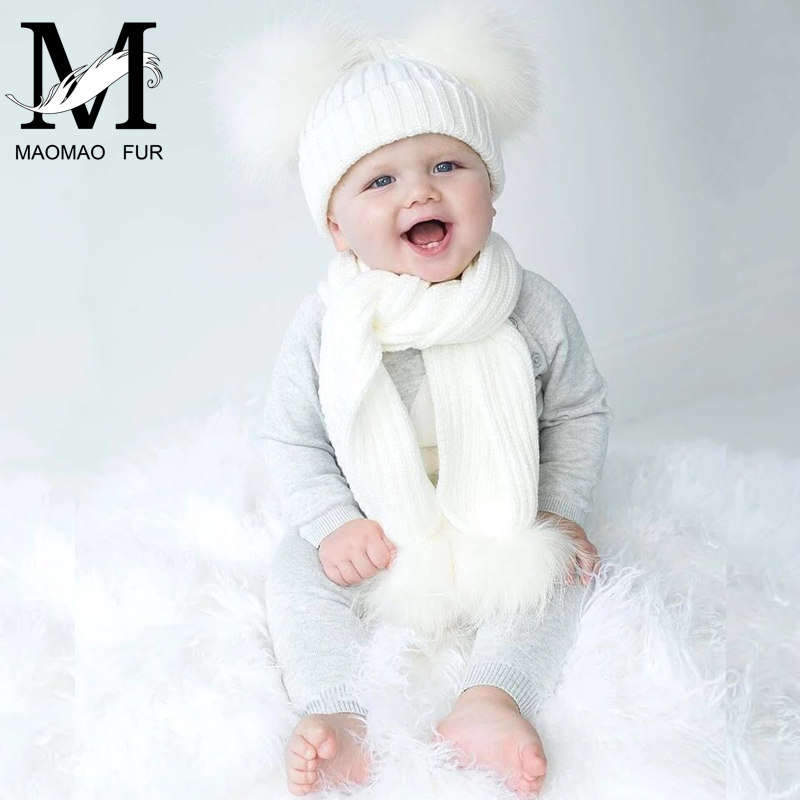 Winter Real Fur Scarf and Hat Set Kids Big Real Raccoon Fur Balls Hat Double Fur Pom Pom Beanies Children Girls Warm Scarf Cap fashion wool knit baby hat scarf set with fox fur balls autumn winter children hat scarf kids caps for girls boys warm hats set