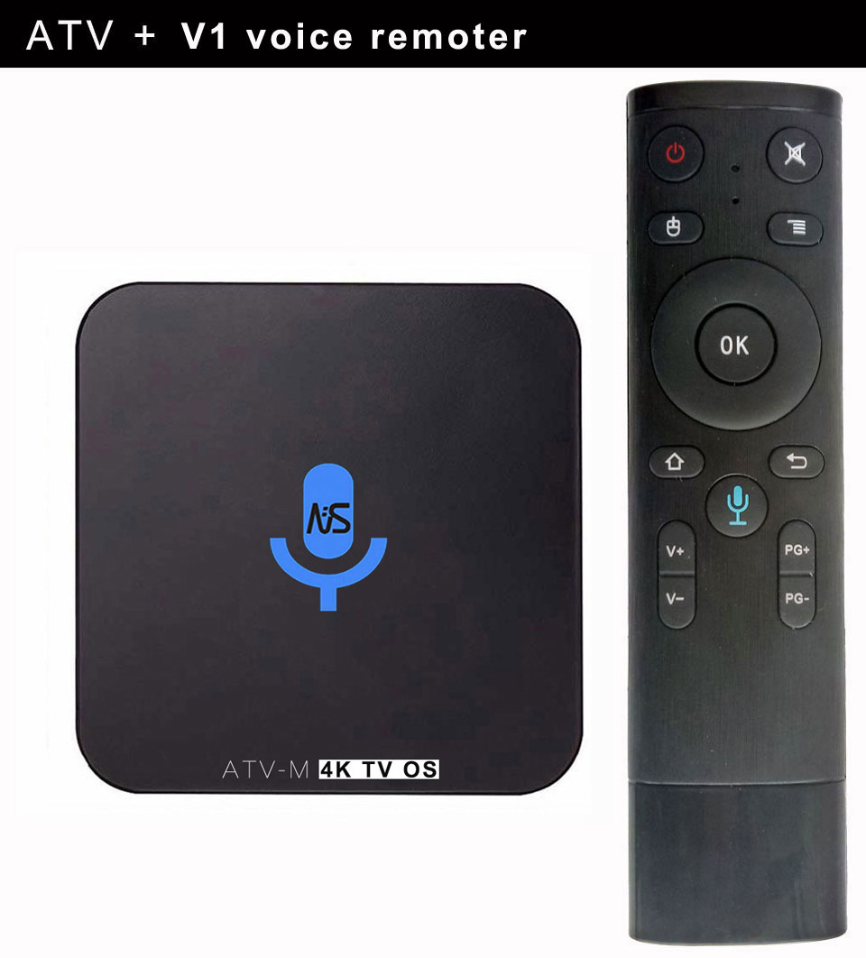 10pcs Custom Made ATV-M S905X 4K Voice Control Smart Android TV OS box Streaming Box Support Google Play Youtube Netflix