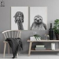 Nordic alpaca quadros de arte da lona e cartazes decorativos  arte da parede preguiça quadros imagem para crianças quarto decoração casa