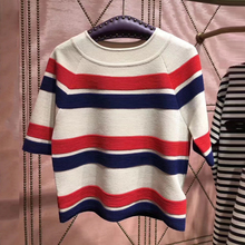 Striped Sleeve Summer Tops