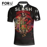 FORUDESIGNS Cool 3D GUN N ROSES Print Mens Polo Shirt Summer Short Sleeve Tops Tees Designer