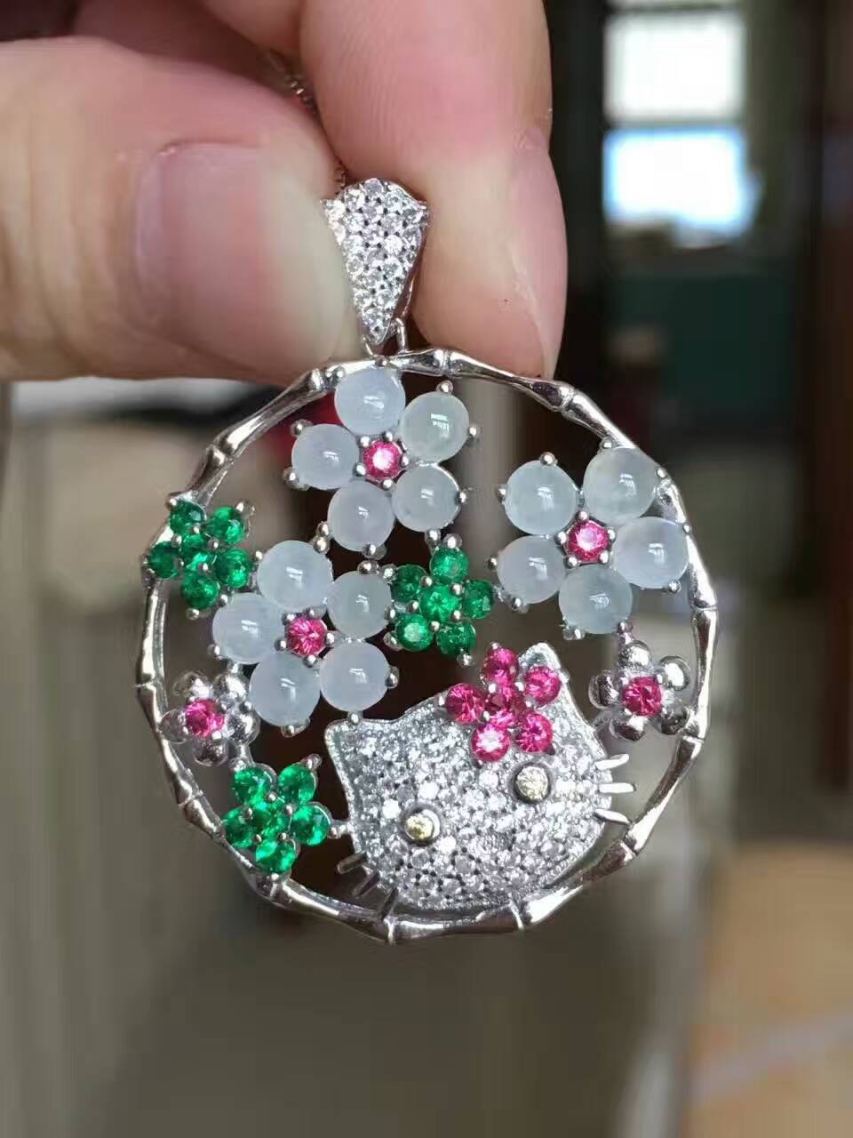 natural Ice jade gem pendant S925 silver Natural gemstone Pendant Necklace Luxury flower Cute cat women gift party gift jewelry natural ice jade gem pendant s925 silver natural gemstone pendant necklace luxury big round flower women gift party gift jewelry