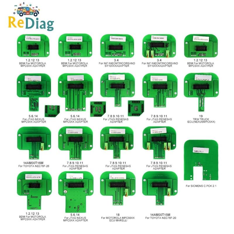 BDM Sonde 22 pièces Pleine Adaptateurs Pour KTAG KESS KTM Dimsport Denso, Marelli, Bosch, Siemens Fonctionne LED BDM Cadre ECU Outil de Programmation