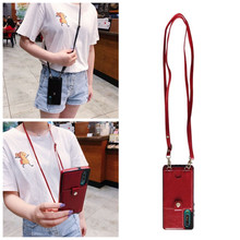 wallet card shoulder strap pu leather case for huaw