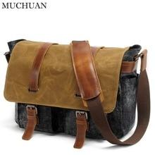 Muchuan 16940# Canvas DSLR Digital Camera Bag Casual Shoulder Messenger Pack for Outdoor Travel Waterproof Bag