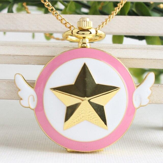 Fashion Steampunk Watch Quartz Pocket Watch Star Wings Fob watch necklace Chain