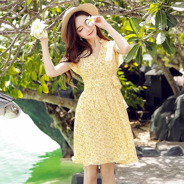 original 2018 brand dress female comfortable printed elegant OL high waist casual bow ruffled floral dress women wholesale