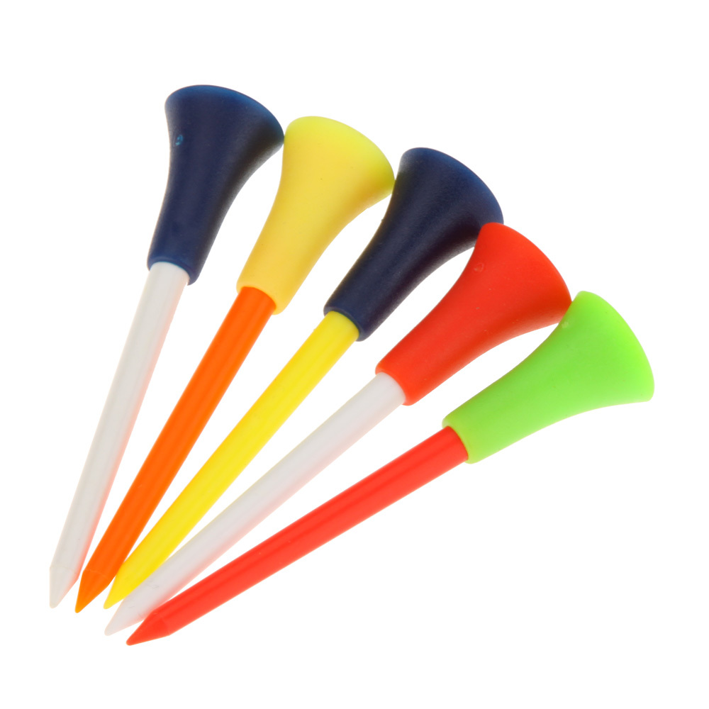 Free Shipping 50 Pcs/bag Multi Color Plastic Golf Tees 83mm Durable Rubber Cushion Top Golf Tee Golf Accessories