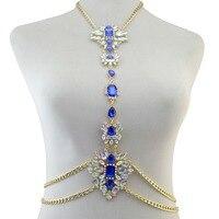 Westerse Stijl Tribal Zomer Mode Gouden Ketting Charm Sexy Body Crystal Rhinestone Ketting voor Vrouwen & Meisje Lichaam Sieraden