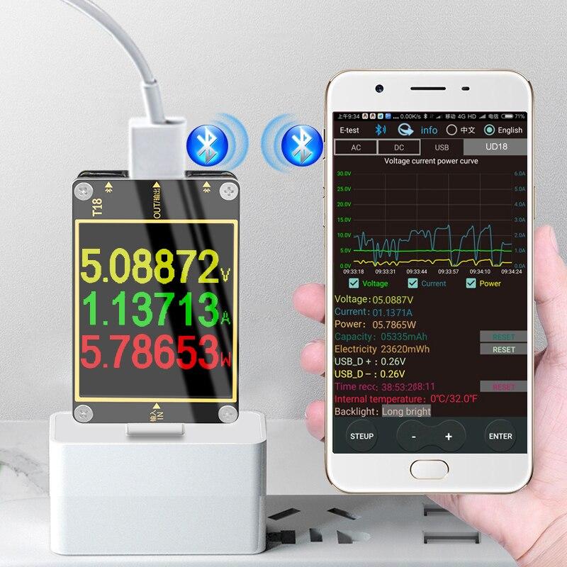 APP 3.0 HD TFT a cores USB tester dc digital voltímetro amperímetro voltimetro banco de potência detector de tensão volt medidor elétrico médico