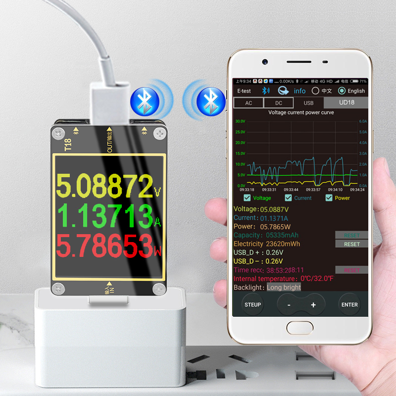 T18 for APP USB <font><b>3.0</b></font> tester HD Color <font><b>TFT</b></font> 1.8 current voltmeter meter PD3.0 fast charging protocol capacity test bluetooth online image