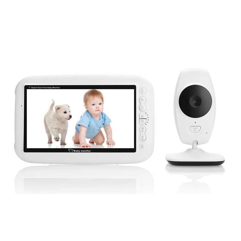 babykam cry baby video monitor baby phone 7.0 inch IR night light vision Intercom Lullaby Temperature Sensor camera baby monitor