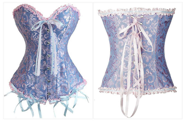 29c85d624 ... Sexy Satin Floral Gothic Lace up Boned Overbust Corset and Bustier  Waist Trainer Plus Size S