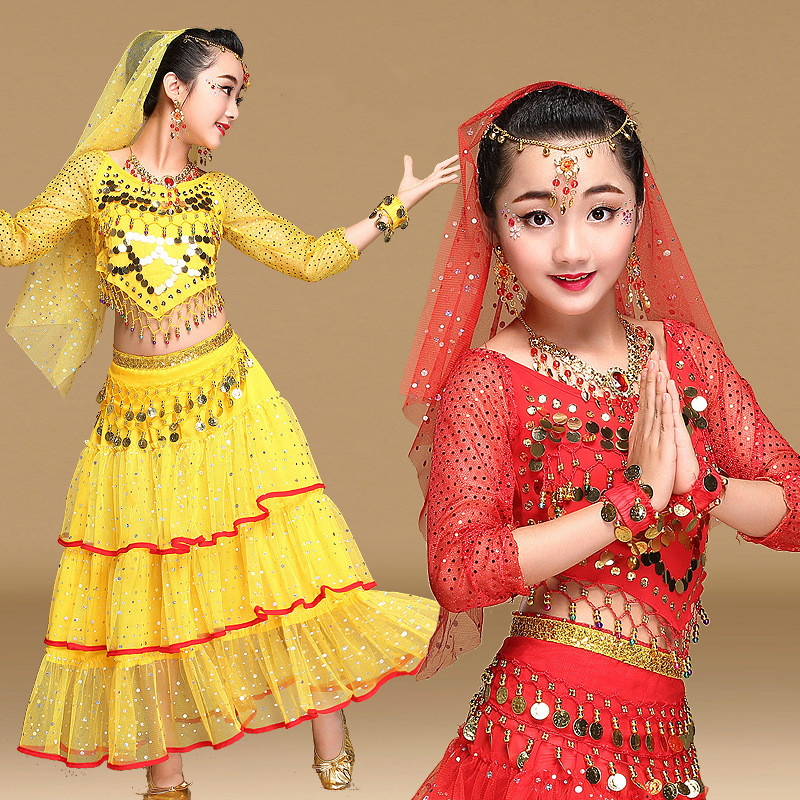 belly dance costume set girls Long sleeves bellydance costume for kids indian dress for kids girls bollywood dance costumes