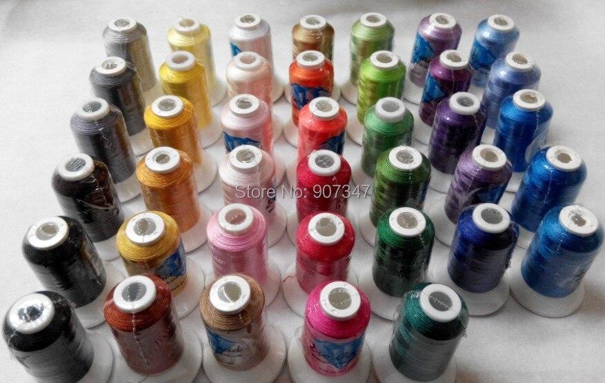 Popular Brother color bordado hilo 500 m/Cono 40 colores surtidos para cualquier máquina de bordado obtener 5 plástico gratis bobinas-in Hilo from Hogar y Mascotas    1