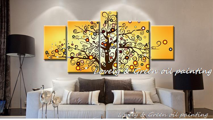 Hand Painted yellow money tree oil painting 5 piece canvas wall art ...
