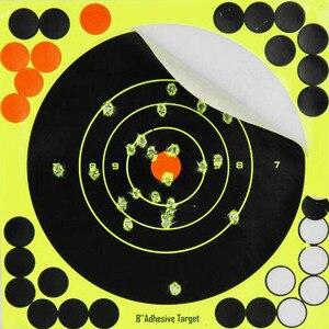 Image 1 - 10 قطعة ترشيش ذاتية اللصق 8 بوصة أهداف ملصقات بمادة لاصقة الفلورسنت الأصفر للبنادق بندقية الهواء الهدف ممارسة اطلاق النار