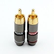 10pcs high quality RCA plug Audio adapter 24  gold RCA plug color AV DIY HIFI friends head video head цены онлайн