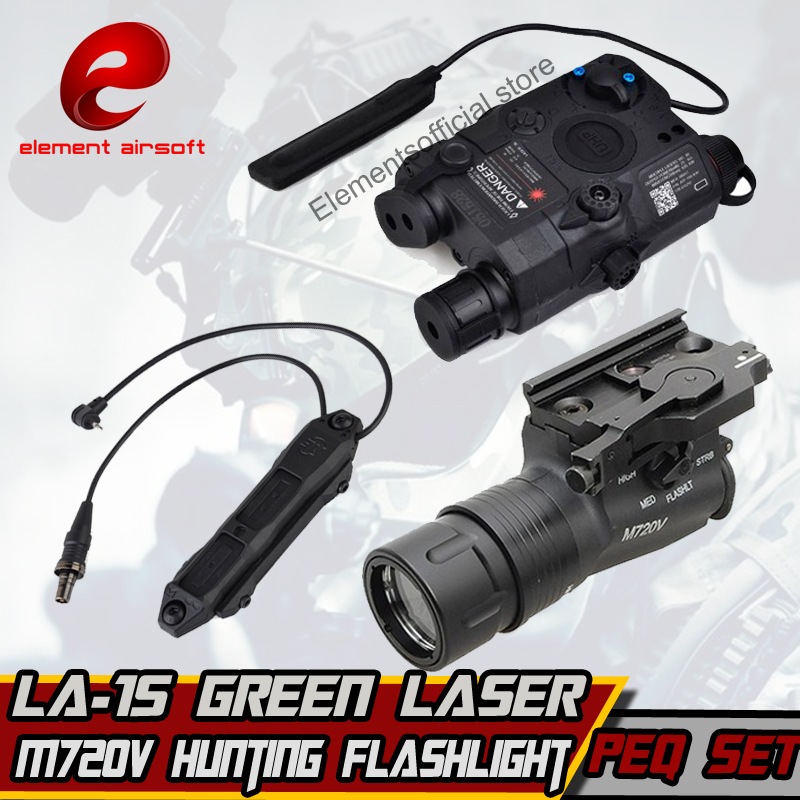 Element M720V Hunting Flashlight LA 15 Green Laser PEQ Augmented Pressure Mount Double Control Switch tactical